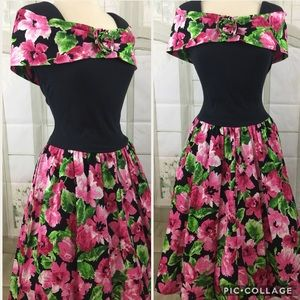 Vintage Floral Prom Dress Padded Shoulders